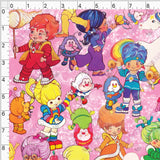 Pre Order - Brite Friends and Sprites on Neon Pink PRE ORDER YARD Violet Snow Custom Fabric Cotton Canvas Standard
