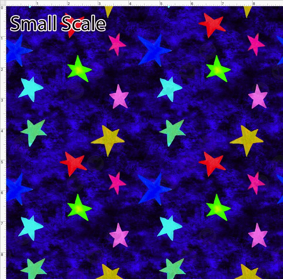 Pre Order - Colorful Stars on Blue Grunge PRE ORDER YARD Violet Snow Custom Fabric Cotton Spandex 240 GSM Small