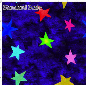 Pre Order - Colorful Stars on Blue Grunge PRE ORDER YARD Violet Snow Custom Fabric Cotton Spandex 240 GSM Standard