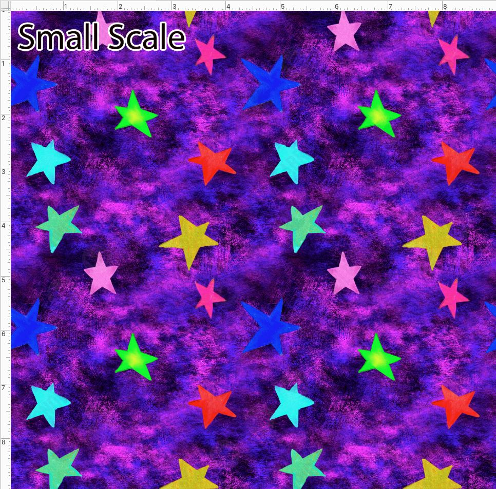 Pre Order - Colorful Stars on Purple Grunge PRE ORDER YARD Violet Snow Custom Fabric Cotton Spandex 240 GSM Small