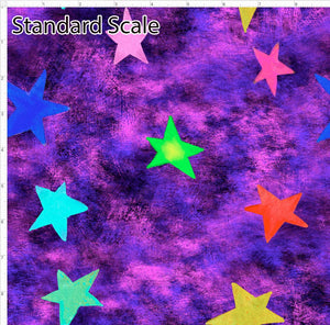 Pre Order - Colorful Stars on Purple Grunge PRE ORDER YARD Violet Snow Custom Fabric Cotton Spandex 240 GSM Standard