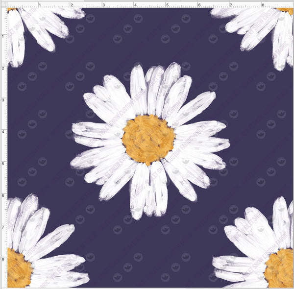 Pre Order - Daisies on dusty blue PRE ORDER YARD Violet Snow Custom Fabric