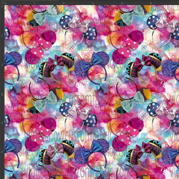 Pre Order - Ears on Pink and Blue Splash PRE ORDER YARD Violet Snow Custom Fabric