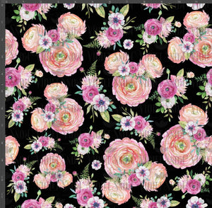 Pre Order - Floral Ears on Black PRE ORDER YARD Violet Snow Custom Fabric