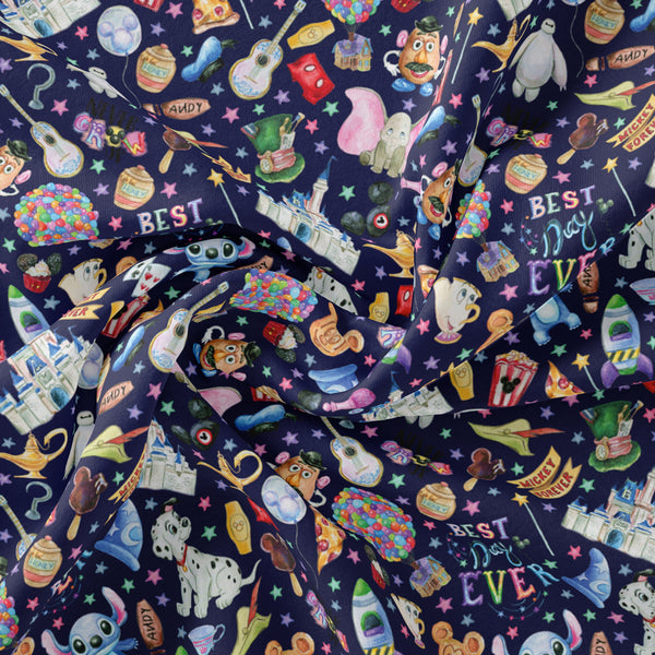 Pre Order -Forever Navy PRE ORDER YARD Violet Snow Custom Fabric