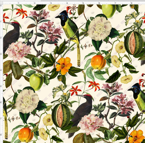Pre Order - Fresh Fruit Tropical Birds and Floral PRE ORDER YARD Violet Snow Custom Fabric