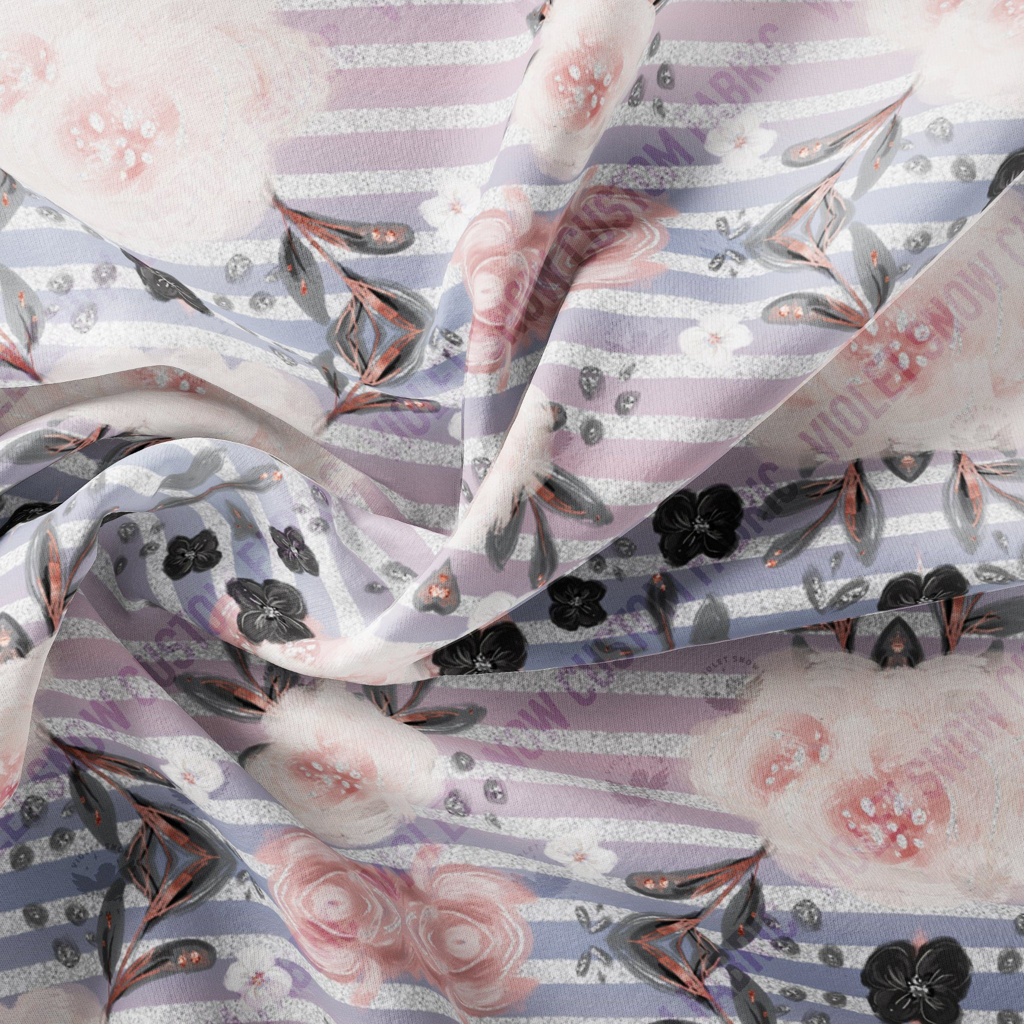 Pre Order - Geo Swan Floral on Shimmery Silver Stripes PRE ORDER YARD Violet Snow Custom Fabric
