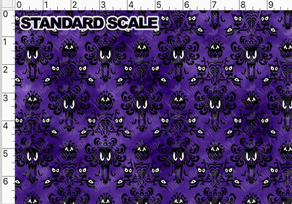 Pre Order: Haunted Wallpaper on Purple PRE ORDER YARD Violet Snow Custom Fabric Cotton Spandex 240 GSM Standard