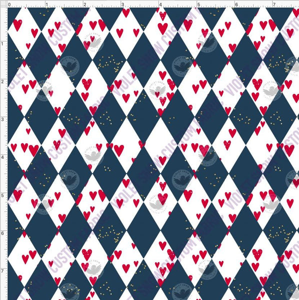 Pre Order - Hearts and Diamonds PRE ORDER YARD Violet Snow Custom Fabric