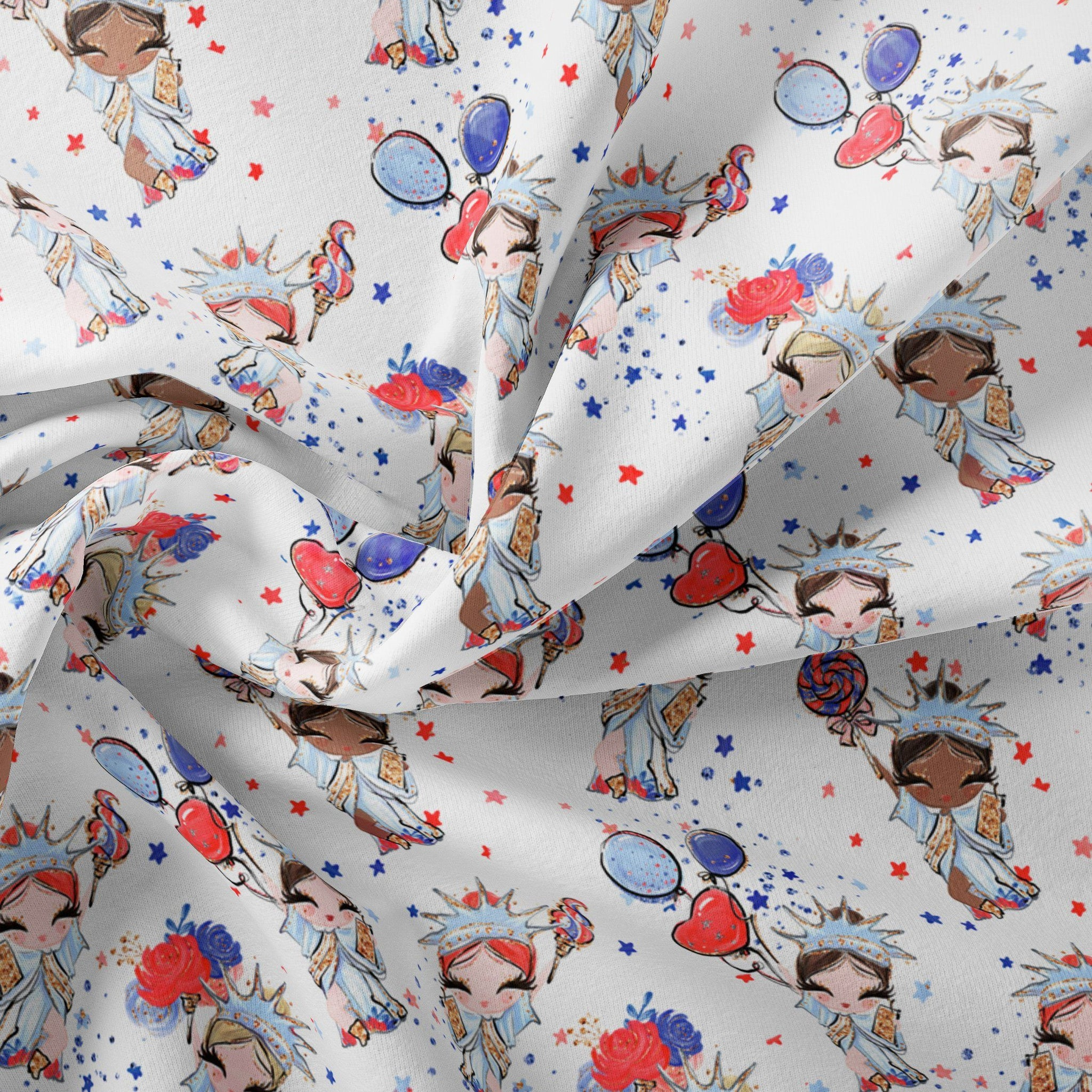 Pre Order - Liberty Babes on White PRE ORDER YARD Violet Snow Custom Fabric