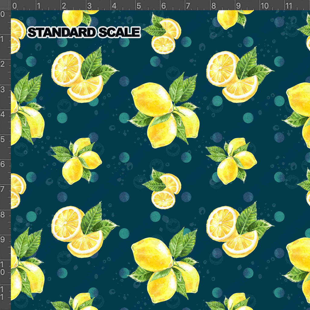 Pre Order - Navy Lemon Drop PRE ORDER YARD Violet Snow Custom Fabric Cotton Spandex 240 GSM Standard