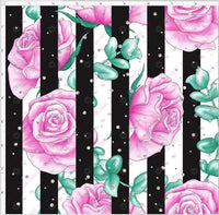 Pre Order - Pink Roses on Black and white stripes with Gems PRE ORDER YARD Violet Snow Custom Fabric