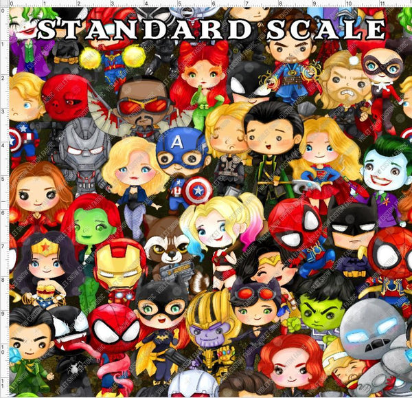 Pre Order PRINT ON DEMAND - All the Super Heroes PRE ORDER YARD Violet Snow Custom Fabric