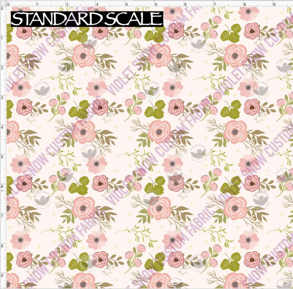 Pre Order R49 - Pink and Green Vintage Floral PRE ORDER YARD Violet Snow Custom Fabric Cotton Lycra 240 GSM Standard