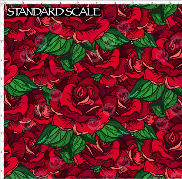 Pre Order R49 - Red Roses PRE ORDER YARD Violet Snow Custom Fabric Cotton Lycra 240 GSM Standard