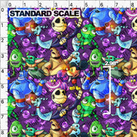 Pre Order R61: Robot Squad on Purple PRE ORDER YARD Violet Snow Custom Fabric Cotton Spandex 240 GSM Standard