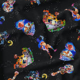 Pre Order - Silhouettes Remember Toss on Black PRE ORDER YARD Violet Snow Custom Fabric