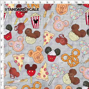 Pre Order - Snacks on Grey Linen PRE ORDER YARD Violet Snow Custom Fabric Cotton Spandex 240 GSM Standard
