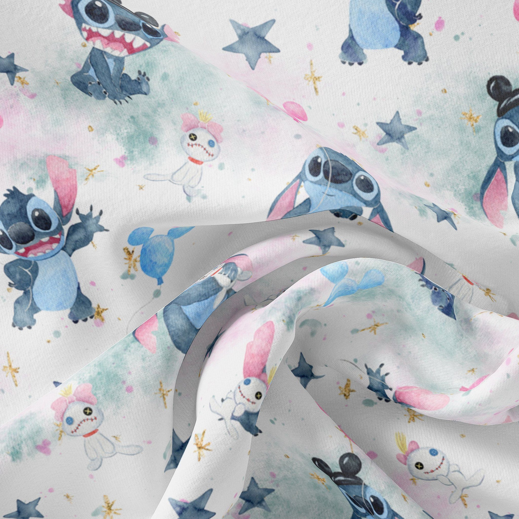 Pre Order - Stitchmonster and friend on pastel clouds PRE ORDER YARD Violet Snow Custom Fabric