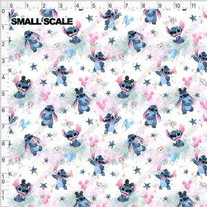 Pre Order - Stitchmonster and friend on pastel clouds PRE ORDER YARD Violet Snow Custom Fabric Cotton Spandex 240 GSM Small