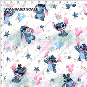 Pre Order - Stitchmonster and friend on pastel clouds PRE ORDER YARD Violet Snow Custom Fabric Cotton Spandex 240 GSM Standard