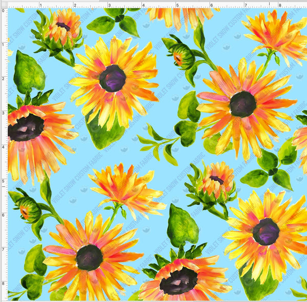 Pre Order - Sunflowers on Blue PRE ORDER YARD Violet Snow Custom Fabric