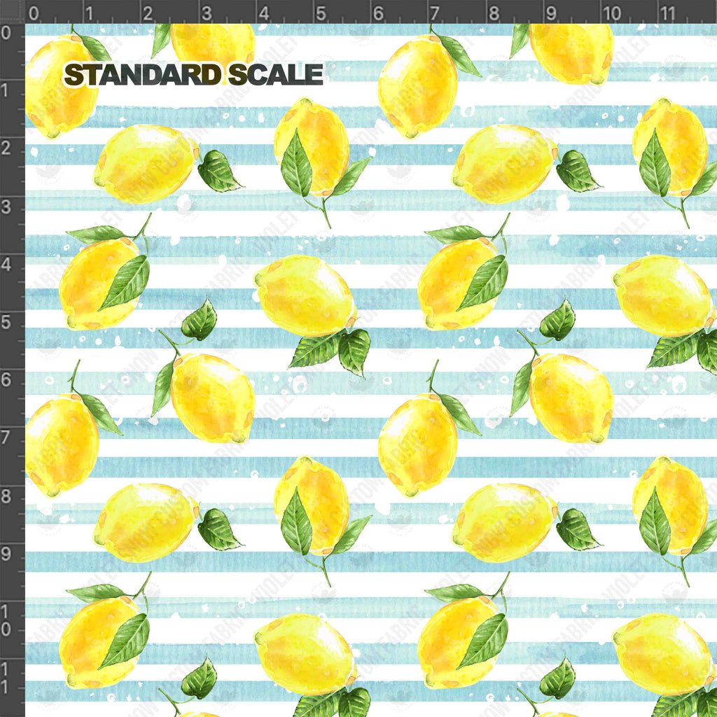 Pre Order - Sunkissed Lemons on Blue Stripes PRE ORDER YARD Violet Snow Custom Fabric Cotton Spandex 240 GSM Standard
