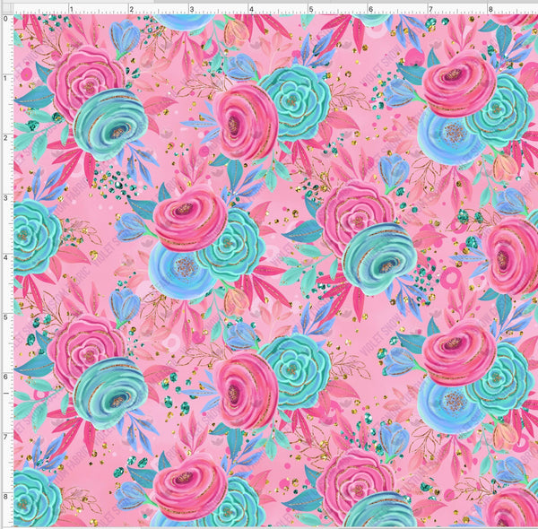 Pre Order - Tea Party Floral on pink PRE ORDER YARD Violet Snow Custom Fabric