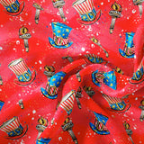 Pre Order - Uncle Sam on Red PRE ORDER YARD Violet Snow Custom Fabric