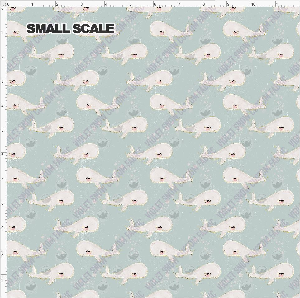 Pre Order - Whale School on Blue-Grey Grunge PRE ORDER YARD Violet Snow Custom Fabric Cotton Spandex 240 GSM Small