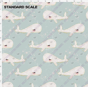Pre Order - Whale School on Blue-Grey Grunge PRE ORDER YARD Violet Snow Custom Fabric Cotton Spandex 240 GSM Standard