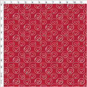 Pre Order - White Circled Hearts on Red PRE ORDER YARD Violet Snow Custom Fabric Cotton Spandex 240 GSM Standard
