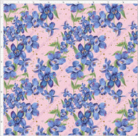Pre Order - Wisteria Blue Floral on Pink PRE ORDER YARD Violet Snow Custom Fabric