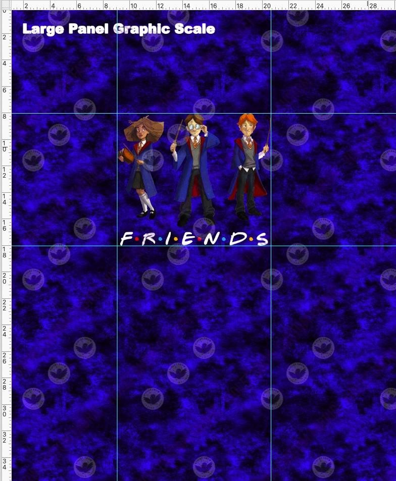 Pre Order - Wizard Friends on Blue Grunge - Panel PRE ORDER PANEL Violet Snow Custom Fabric Cotton Spandex 240 GSM Large
