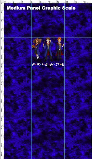Pre Order - Wizard Friends on Blue Grunge - Panel PRE ORDER PANEL Violet Snow Custom Fabric Cotton Spandex 240 GSM Medium