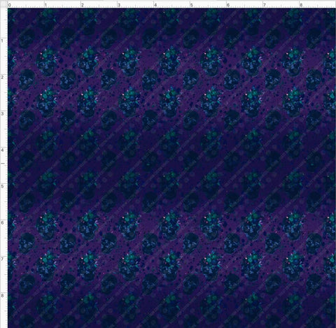 Retail- Electric Skulls Coordinate Retail Yard Violet Snow Custom Fabric Cotton Lycra 180 GSM Small