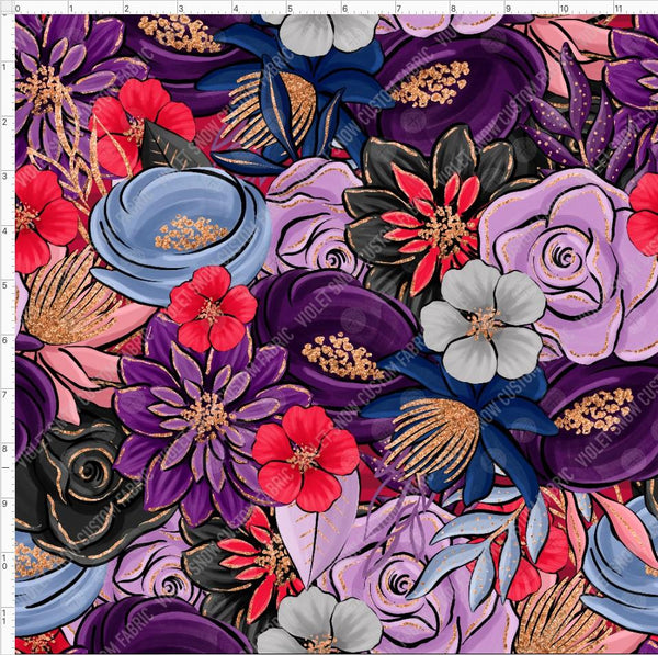 Retail- Enchanted Floral Retail Yard Violet Snow Custom Fabric