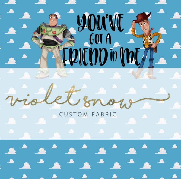 Retail - Friends in low places - Toy Pals Panel Retail Panel Violet Snow Custom Fabric Cotton Woven 150 GSM Small