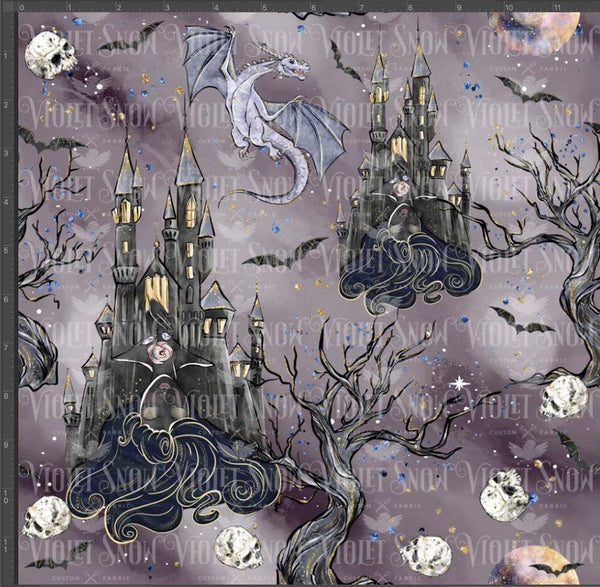 Retail - Haunted Sleep Collection Retail Yard Violet Snow Custom Fabric Cotton Lycra 180 GSM Midnight Castle Standard