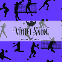 Retail Lets Play Volleyball Black Silhouettes on Purple Retail Yard Violet Snow Custom Fabric Sport Knit 280gsm Yard