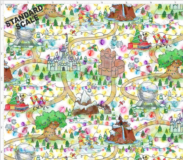 Retail - Lighted Christmas Wonderland Retail Yard Violet Snow Custom Fabric Cotton Lycra 180 GSM Standard