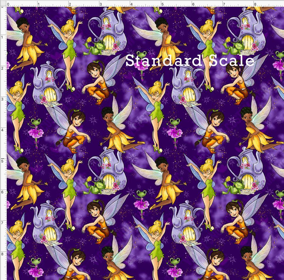 Retail - Neverland Fairies Purple Dust Retail Yard Violet Snow Custom Fabric Cotton Woven