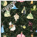 Retail- NOLA Characters Glitter Splash on Deep Green Retail Yard Violet Snow Custom Fabric Cotton Lycra 180 GSM Standard
