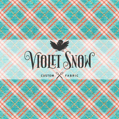 Retail - Preppy Teal Plaid Retail Yard Violet Snow Custom Fabric