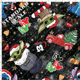 Retail - Space Babies and Santa Hats on black Retail Yard Violet Snow Custom Fabric