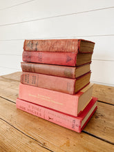 Load image into Gallery viewer, collection of pink/aged red books