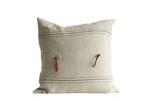 square striped & leather pillow