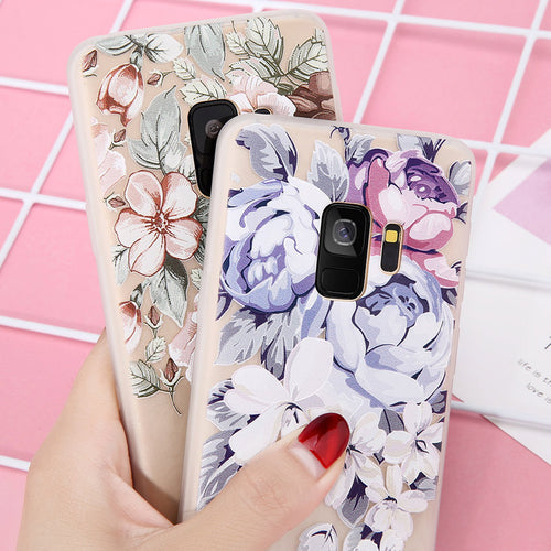 Relief Floral Pattern Phone Case For Samsung