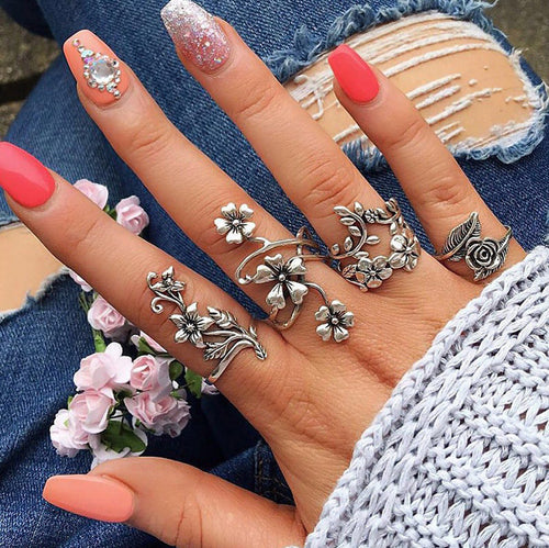 Opal Leaves 4Pcs Ring set