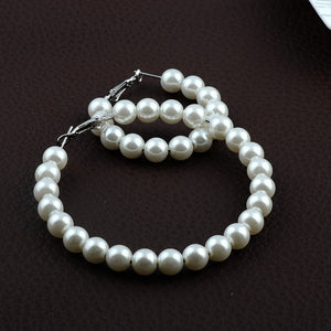 Oversized Pearl Hoop Earrings